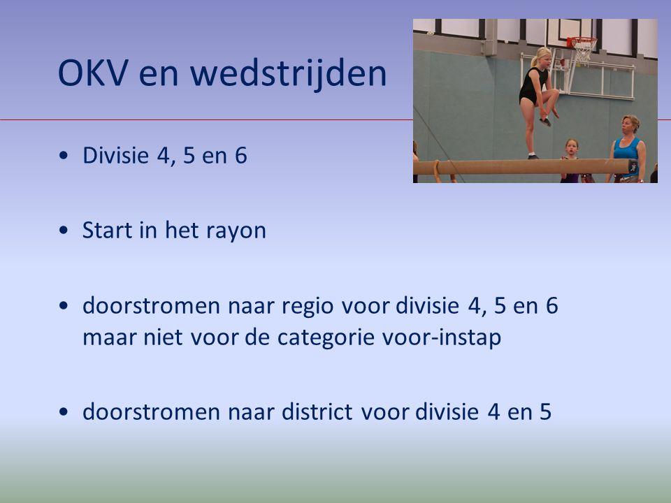 OKV en wedstrijden Divisie 4, 5 en 6 Start in het rayon