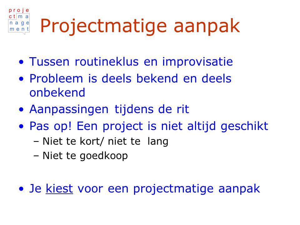 Projectmatige aanpak Tussen routineklus en improvisatie