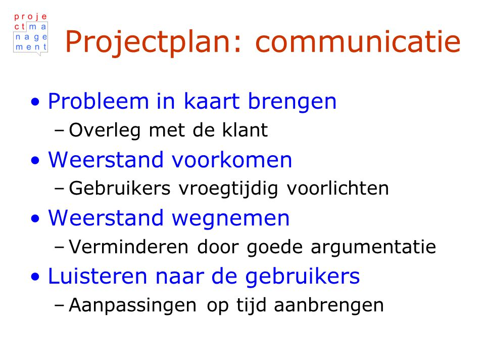 Projectplan: communicatie