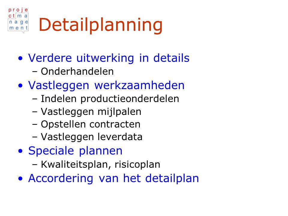 Detailplanning Verdere uitwerking in details Vastleggen werkzaamheden