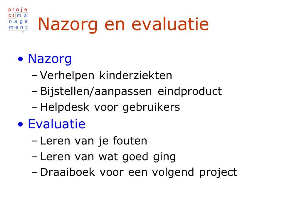 Nazorg en evaluatie Nazorg Evaluatie Verhelpen kinderziekten