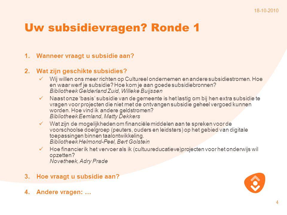 Uw subsidievragen Ronde 1