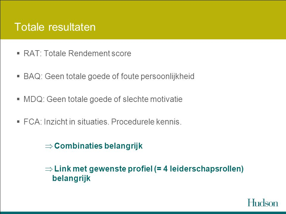 Totale resultaten RAT: Totale Rendement score