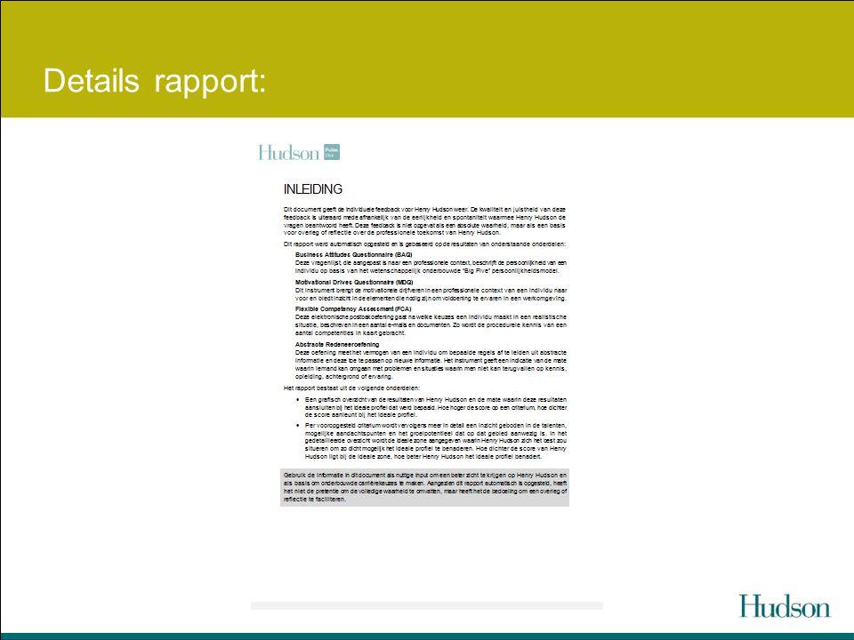 Details rapport: De inleiding, beschrijft de testen waarop het rapport gebaseerd is en hoe het rapport geïnterpreteerd dient te worden.