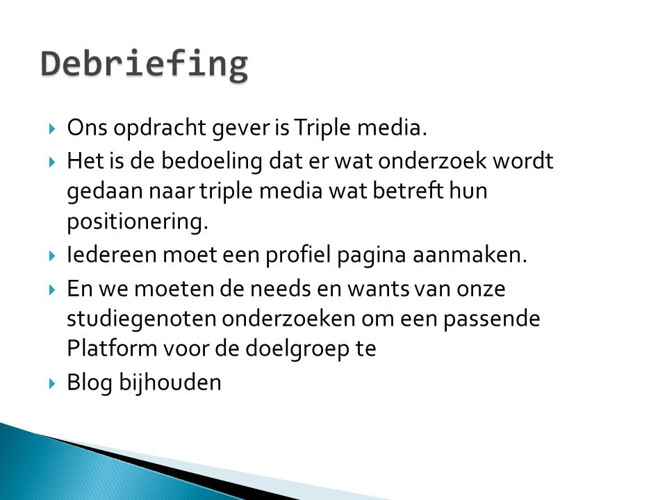 Debriefing Ons opdracht gever is Triple media.