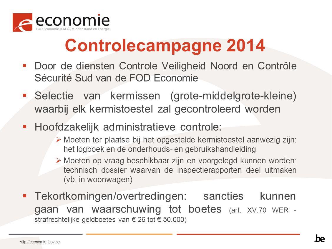 Controlecampagne 2014 Door de diensten Controle Veiligheid Noord en Contrôle Sécurité Sud van de FOD Economie.