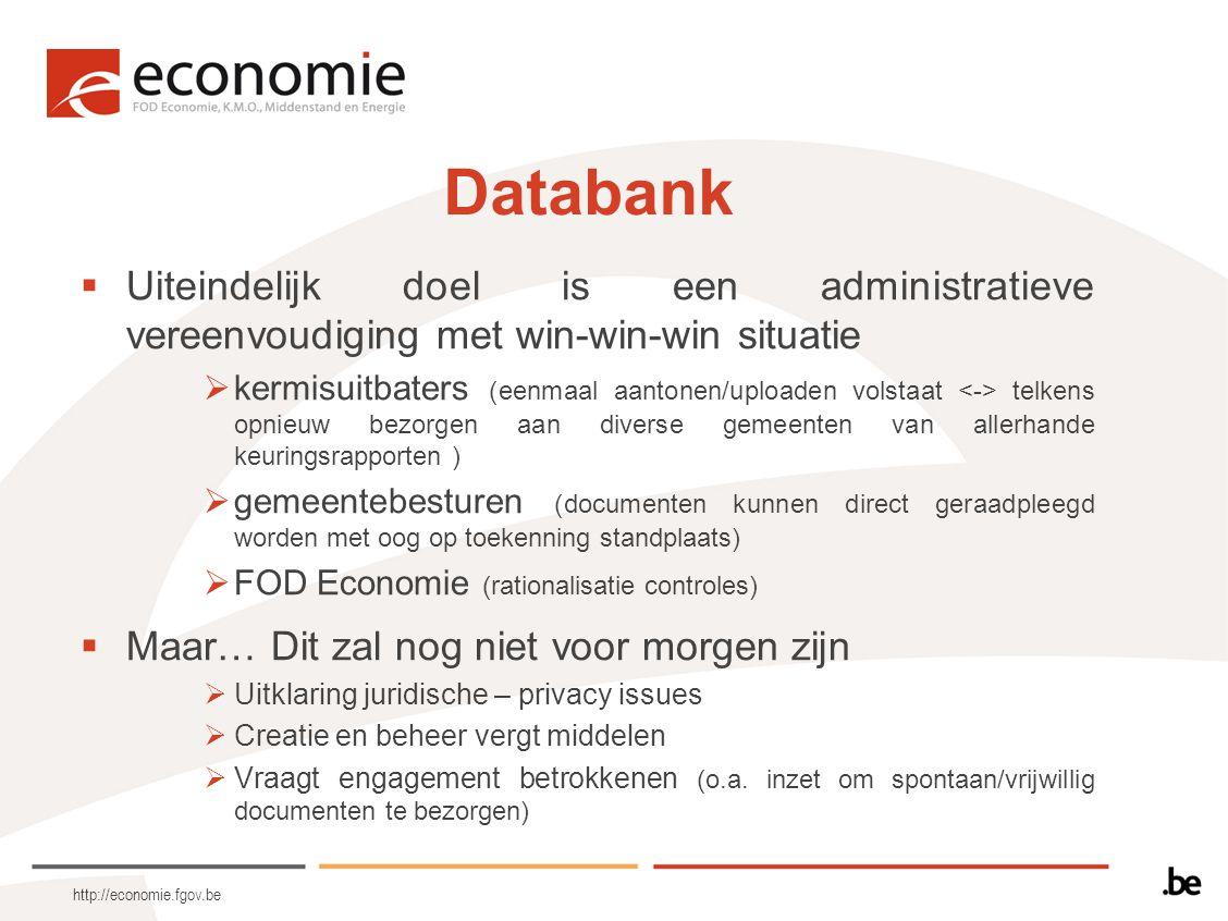 Databank Uiteindelijk doel is een administratieve vereenvoudiging met win-win-win situatie.