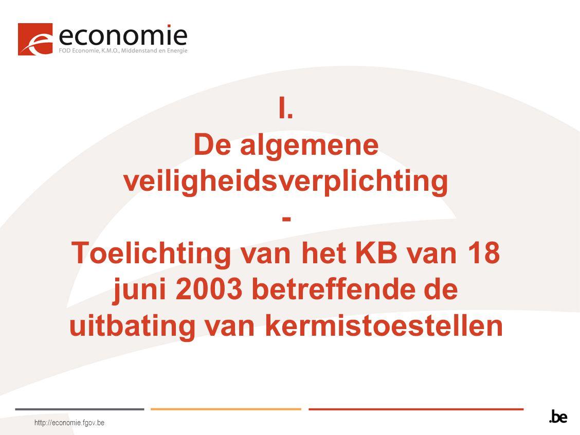 I. De algemene veiligheidsverplichting - Toelichting van het KB van 18 juni 2003 betreffende de uitbating van kermistoestellen