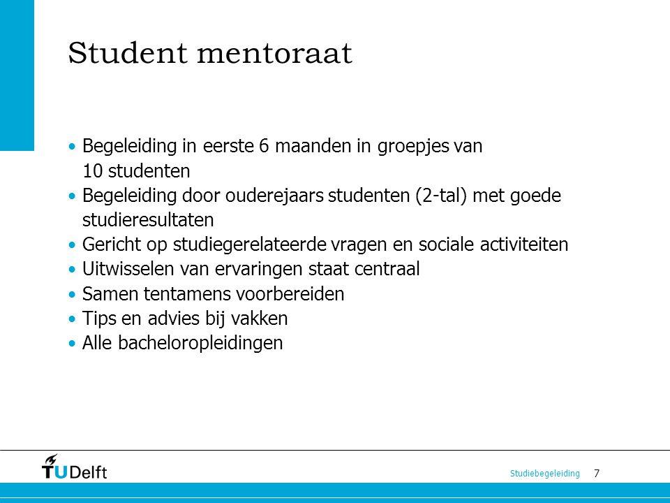 Student mentoraat Begeleiding in eerste 6 maanden in groepjes van 10 studenten.