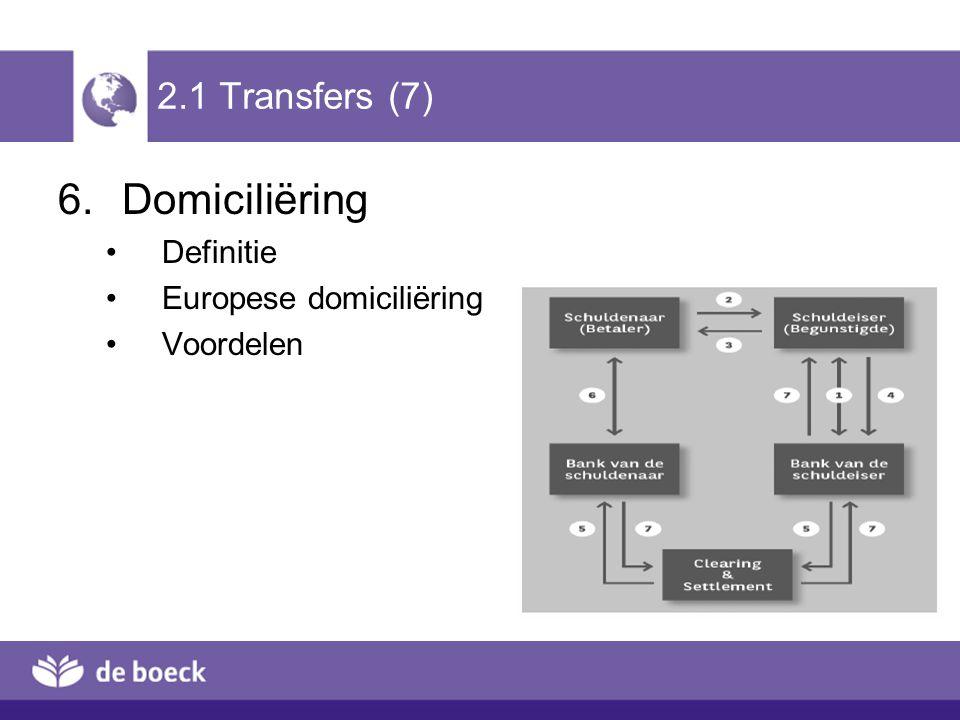Domiciliëring 2.1 Transfers (7) Definitie Europese domiciliëring