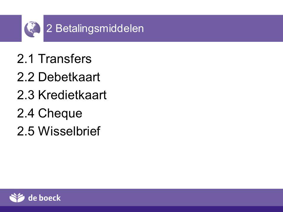 2.1 Transfers 2.2 Debetkaart 2.3 Kredietkaart 2.4 Cheque