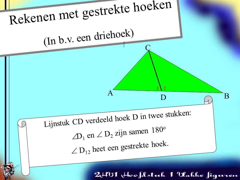 Rekenen met gestrekte hoeken (In b.v. een driehoek)