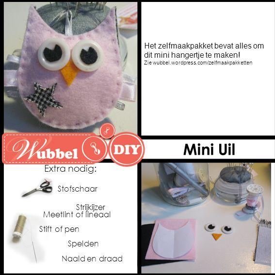 Mini Uil Extra nodig: Het zelfmaakpakket bevat alles om dit mini hangertje te maken! Zie wubbel.wordpress.com/zelfmaakpakketten.