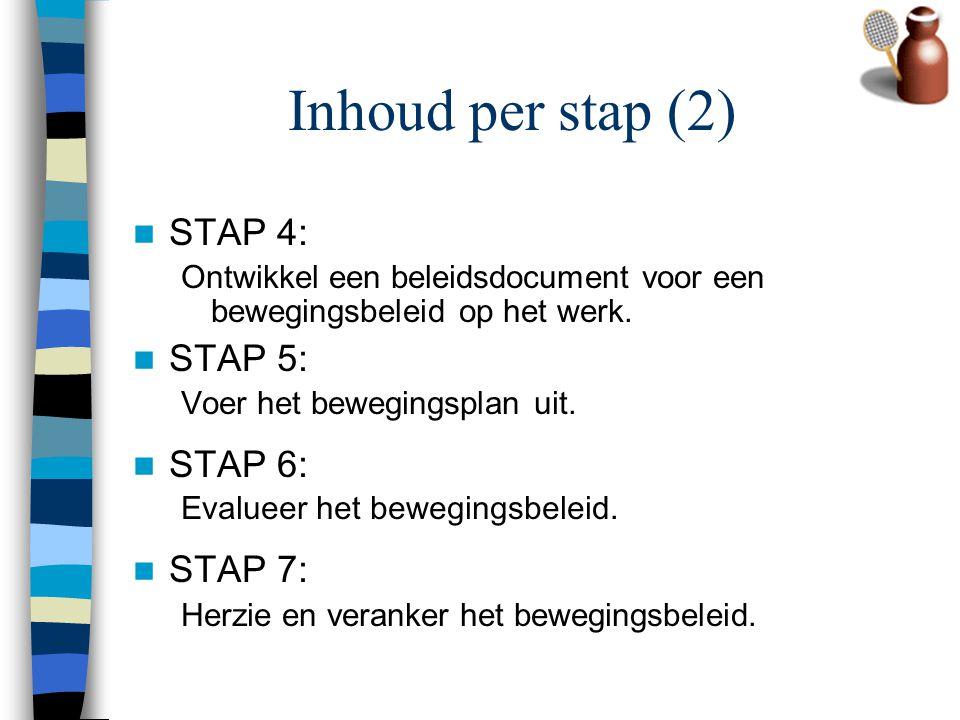 Inhoud per stap (2) STAP 4: STAP 5: STAP 6: STAP 7: