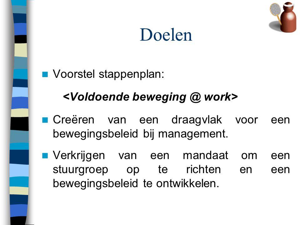 Doelen Voorstel stappenplan: <Voldoende beweging @ work>