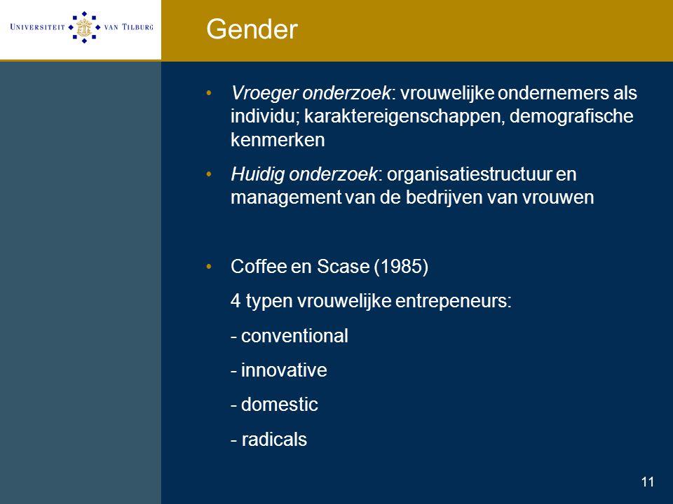 Gender Vroeger onderzoek: vrouwelijke ondernemers als individu; karaktereigenschappen, demografische kenmerken.