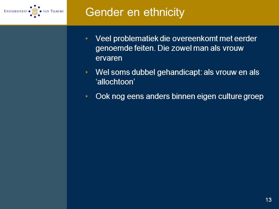 Gender en ethnicity Veel problematiek die overeenkomt met eerder genoemde feiten. Die zowel man als vrouw ervaren.