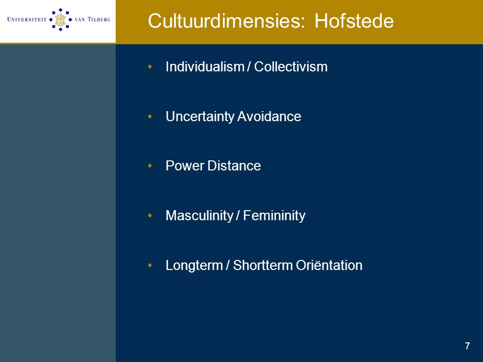 Cultuurdimensies: Hofstede