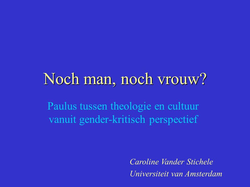 Paulus tussen theologie en cultuur vanuit gender-kritisch perspectief