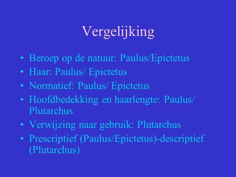 Vergelijking Beroep op de natuur: Paulus/Epictetus