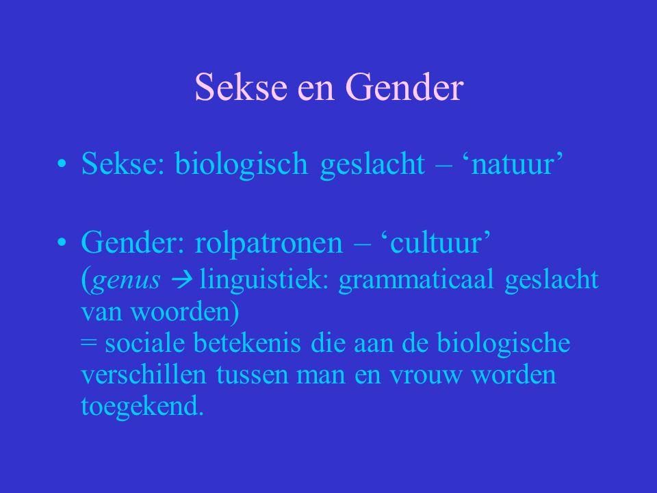 Sekse en Gender Sekse: biologisch geslacht – 'natuur'