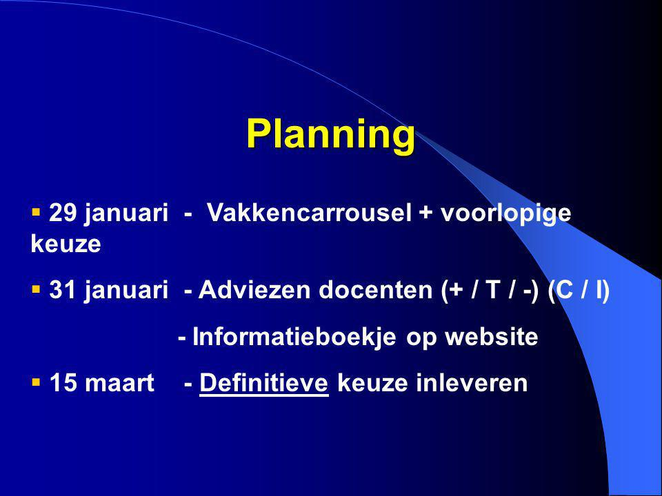 Planning 29 januari - Vakkencarrousel + voorlopige keuze