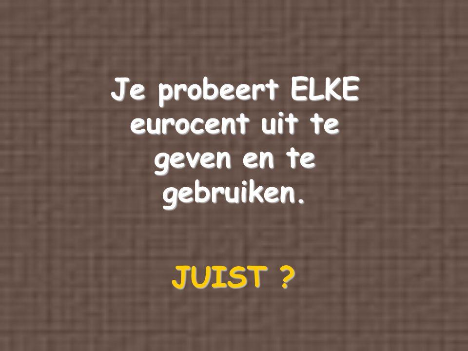Je probeert ELKE eurocent uit te geven en te gebruiken.