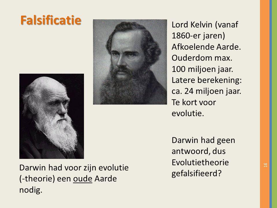 Falsificatie Lord Kelvin (vanaf 1860-er jaren) Afkoelende Aarde.