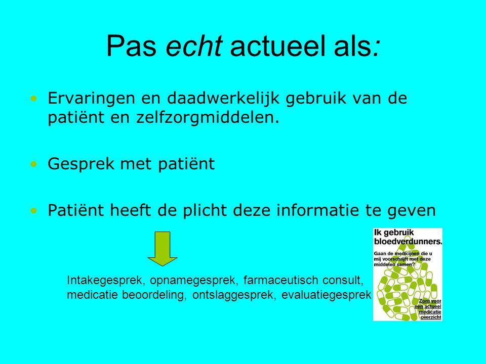 Pas echt actueel als: Ervaringen en daadwerkelijk gebruik van de patiënt en zelfzorgmiddelen. Gesprek met patiënt.