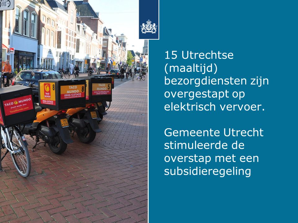 15 Utrechtse (maaltijd) bezorgdiensten zijn overgestapt op elektrisch vervoer.