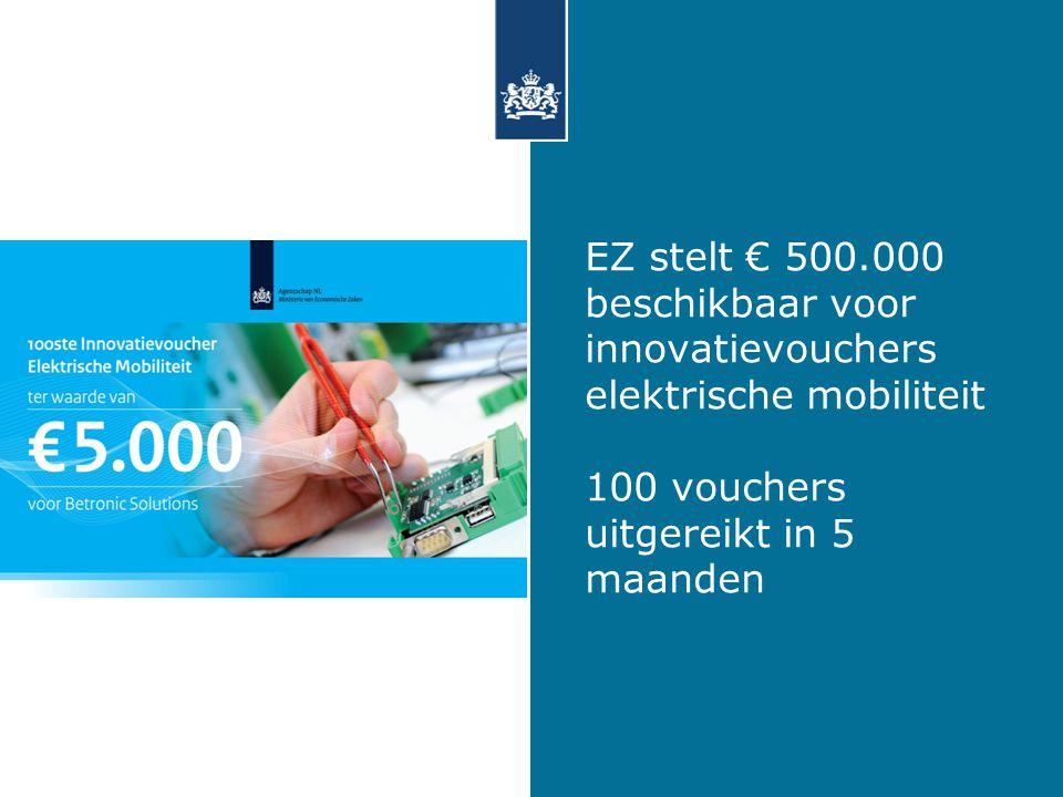 EZ stelt € 500.000 beschikbaar voor innovatievouchers elektrische mobiliteit 100 vouchers uitgereikt in 5 maanden