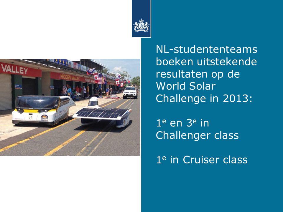 NL-studententeams boeken uitstekende resultaten op de World Solar Challenge in 2013: 1e en 3e in Challenger class 1e in Cruiser class