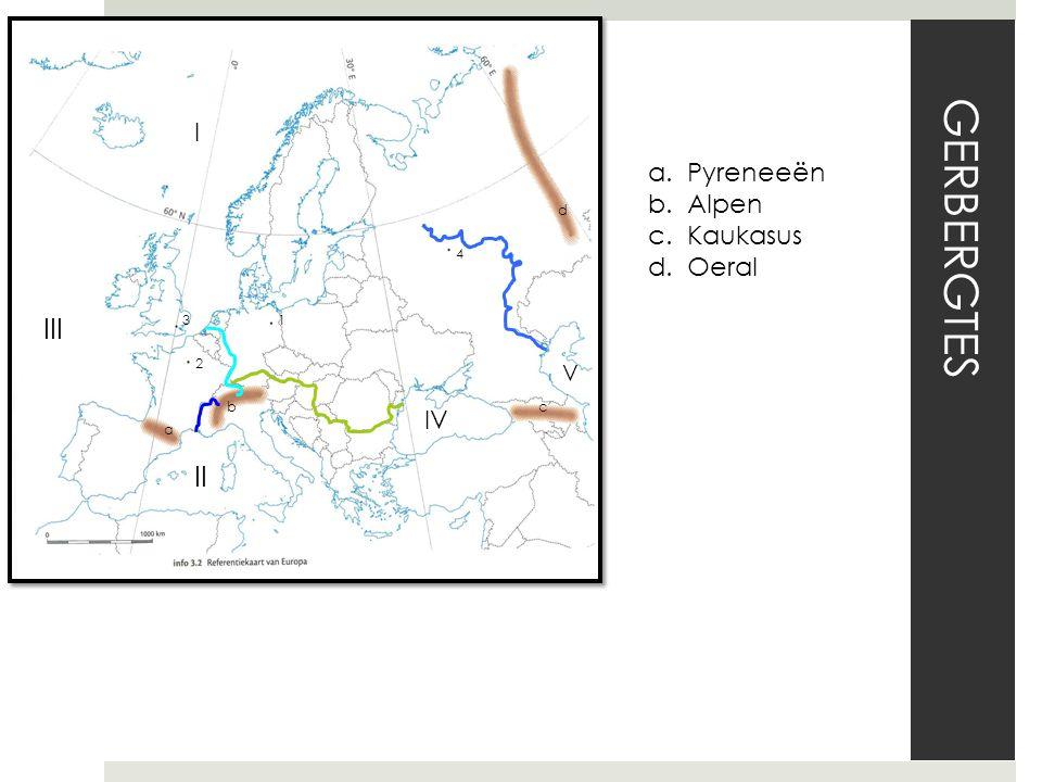 GERBERGTES III II I Pyreneeën Alpen Kaukasus Oeral IV V 1 2 3 4 a b c