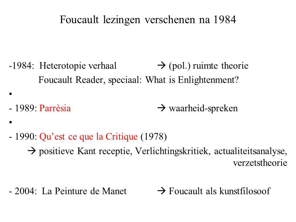 Foucault lezingen verschenen na 1984