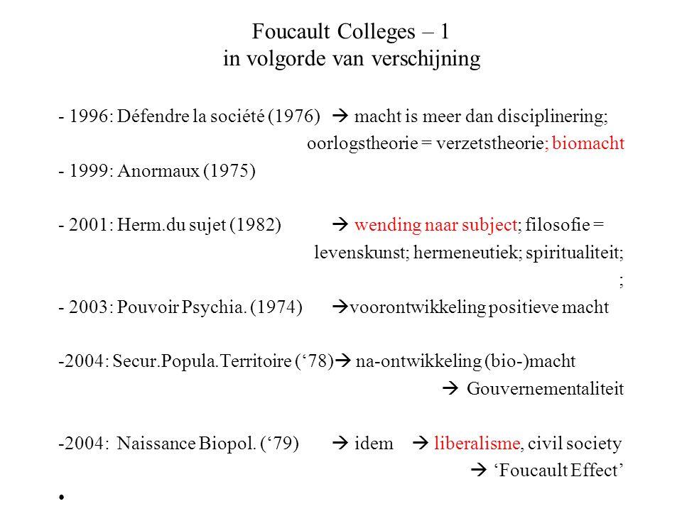 Foucault Colleges – 1 in volgorde van verschijning