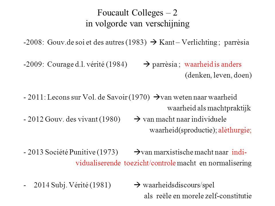 Foucault Colleges – 2 in volgorde van verschijning