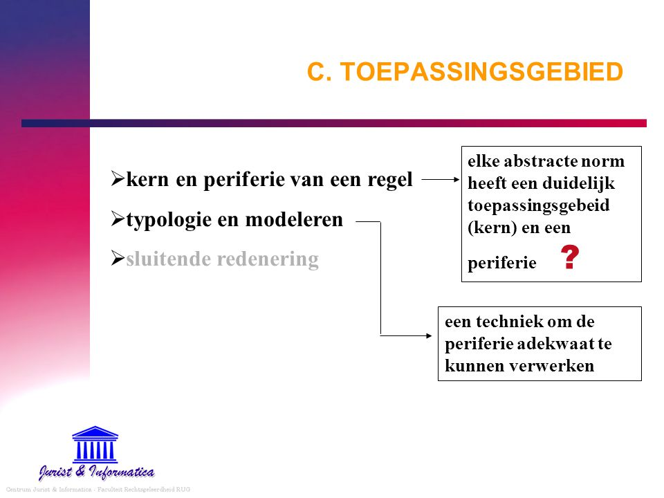 C. TOEPASSINGSGEBIED kern en periferie van een regel