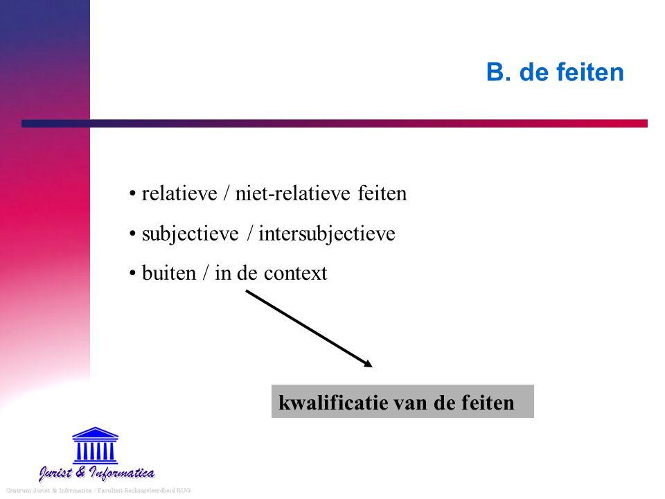 B. de feiten relatieve / niet-relatieve feiten