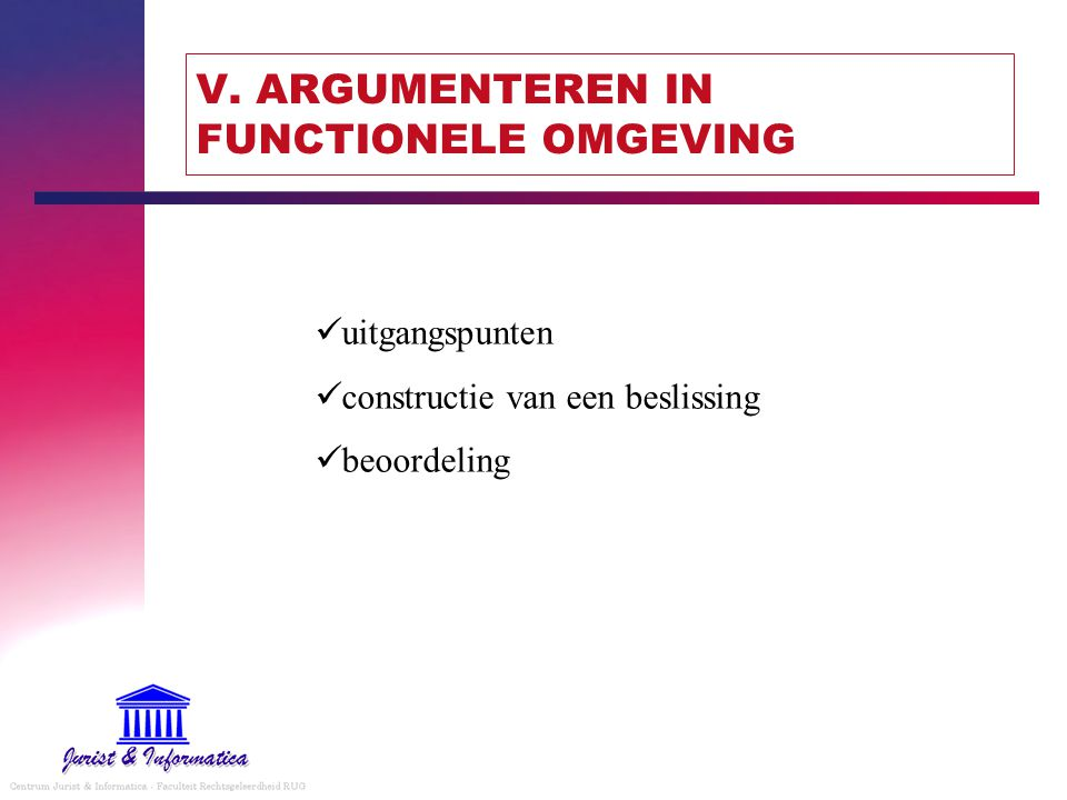 V. ARGUMENTEREN IN FUNCTIONELE OMGEVING