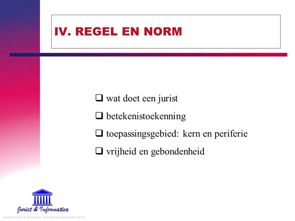IV. REGEL EN NORM wat doet een jurist betekenistoekenning