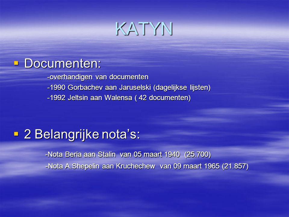 KATYN Documenten: 2 Belangrijke nota's: