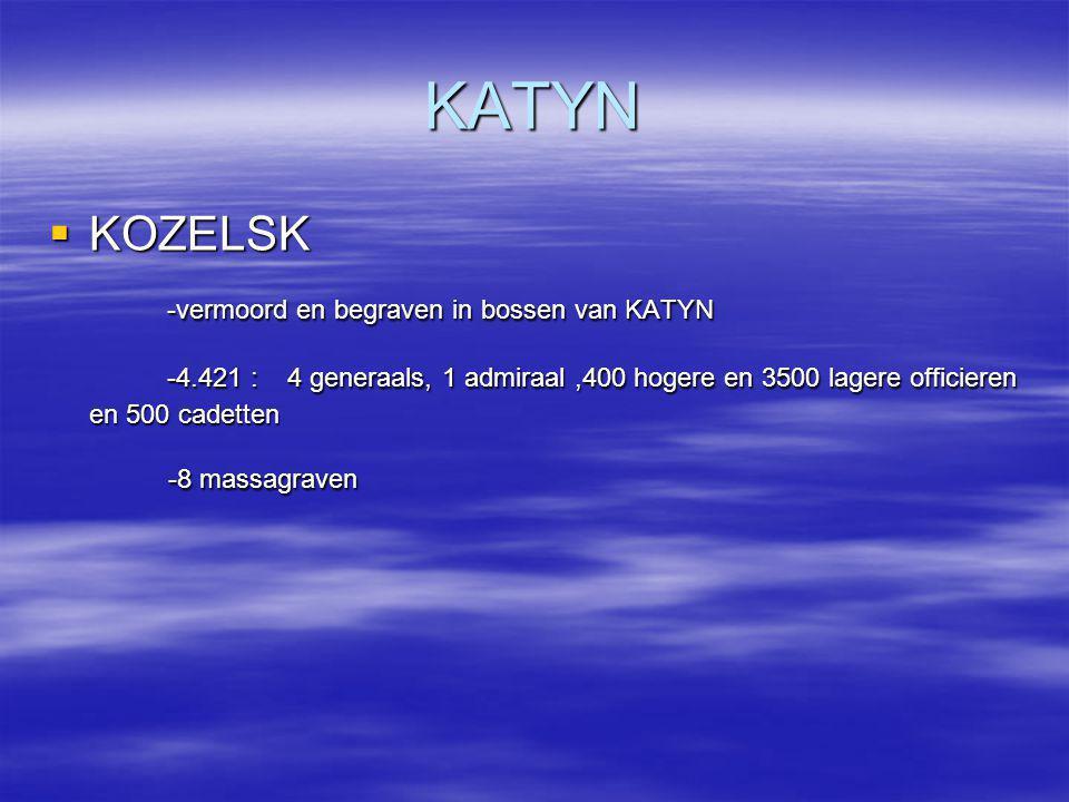 KATYN KOZELSK -vermoord en begraven in bossen van KATYN