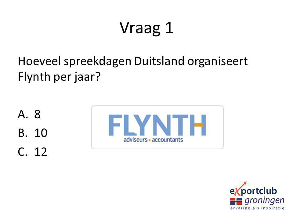 Vraag 1 Hoeveel spreekdagen Duitsland organiseert Flynth per jaar 8