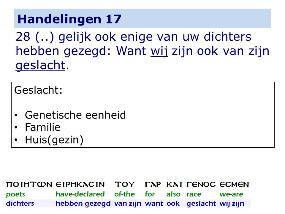Handelingen 17 28 (..) gelijk ook enige van uw dichters hebben gezegd: Want wij zijn ook van zijn geslacht.