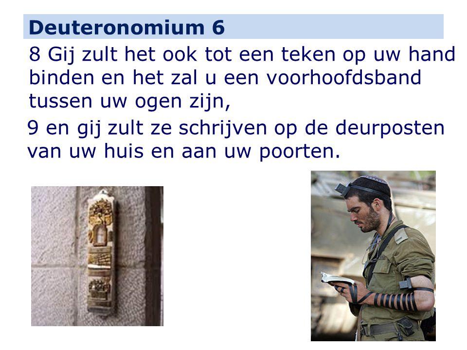 Deuteronomium 6 8 Gij zult het ook tot een teken op uw hand binden en het zal u een voorhoofdsband tussen uw ogen zijn,