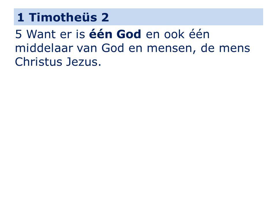 1 Timotheüs 2 5 Want er is één God en ook één middelaar van God en mensen, de mens Christus Jezus.