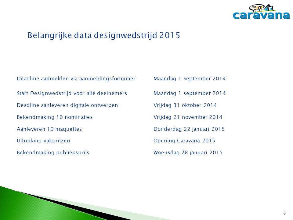 Belangrijke data designwedstrijd 2015