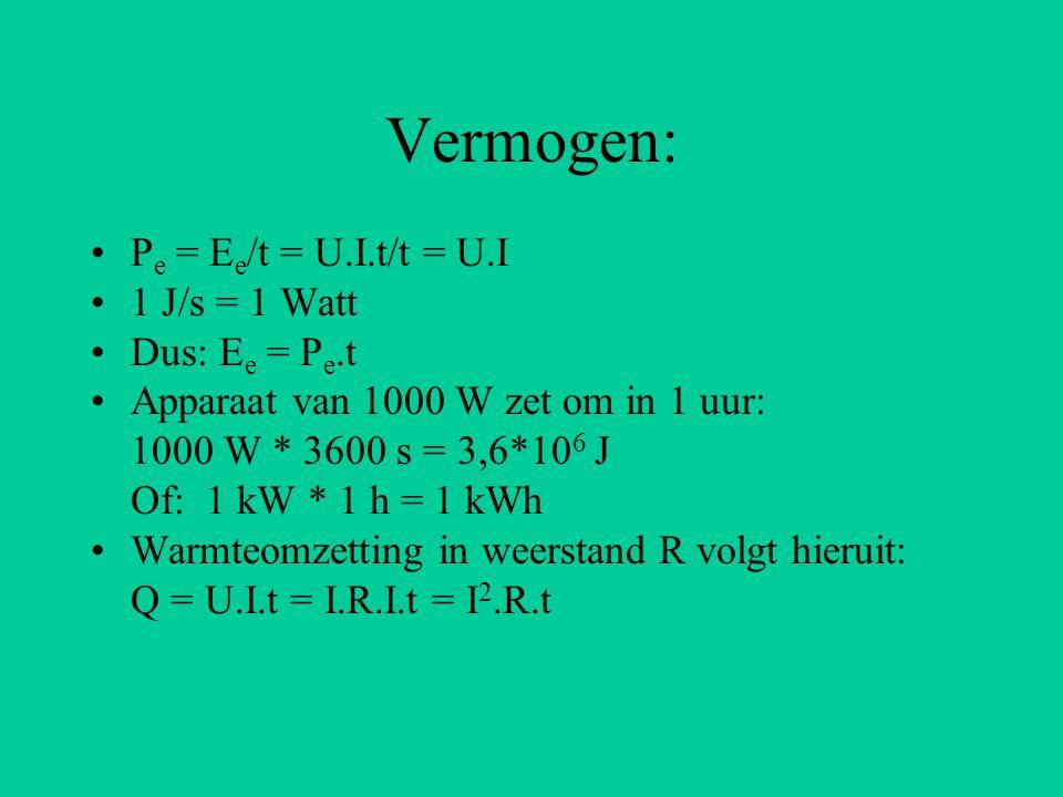 Vermogen: Pe = Ee/t = U.I.t/t = U.I 1 J/s = 1 Watt Dus: Ee = Pe.t