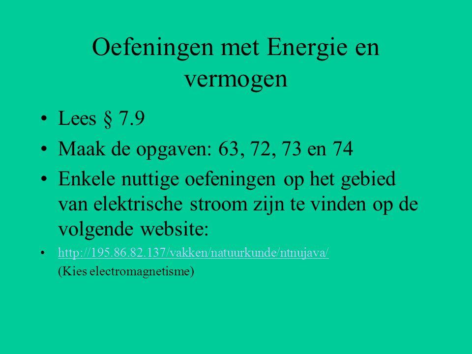 Oefeningen met Energie en vermogen