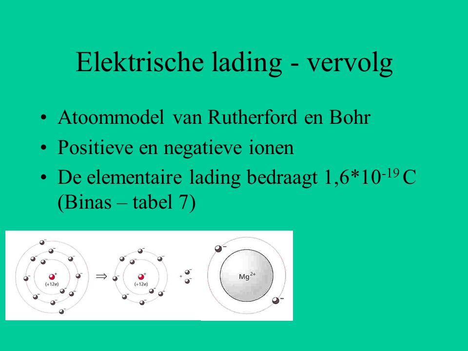Elektrische lading - vervolg